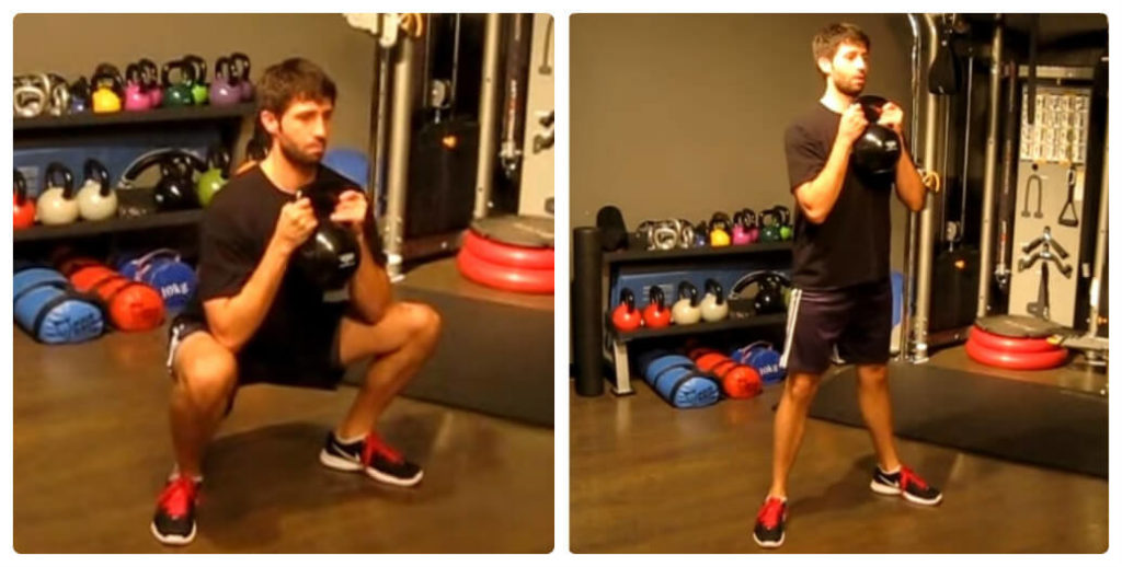 a man is doing goblet squat exercise