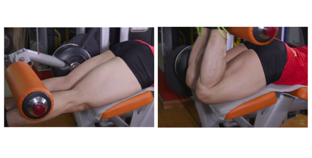 a man is doing hamstring curls exercise