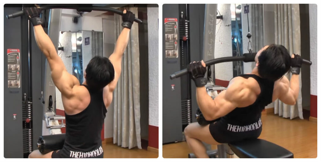 a man is doing lat pulldown exercise