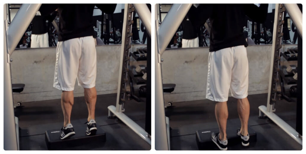 a man is doing standing calf elevation exercise