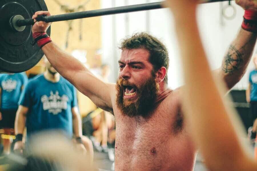 man strength training